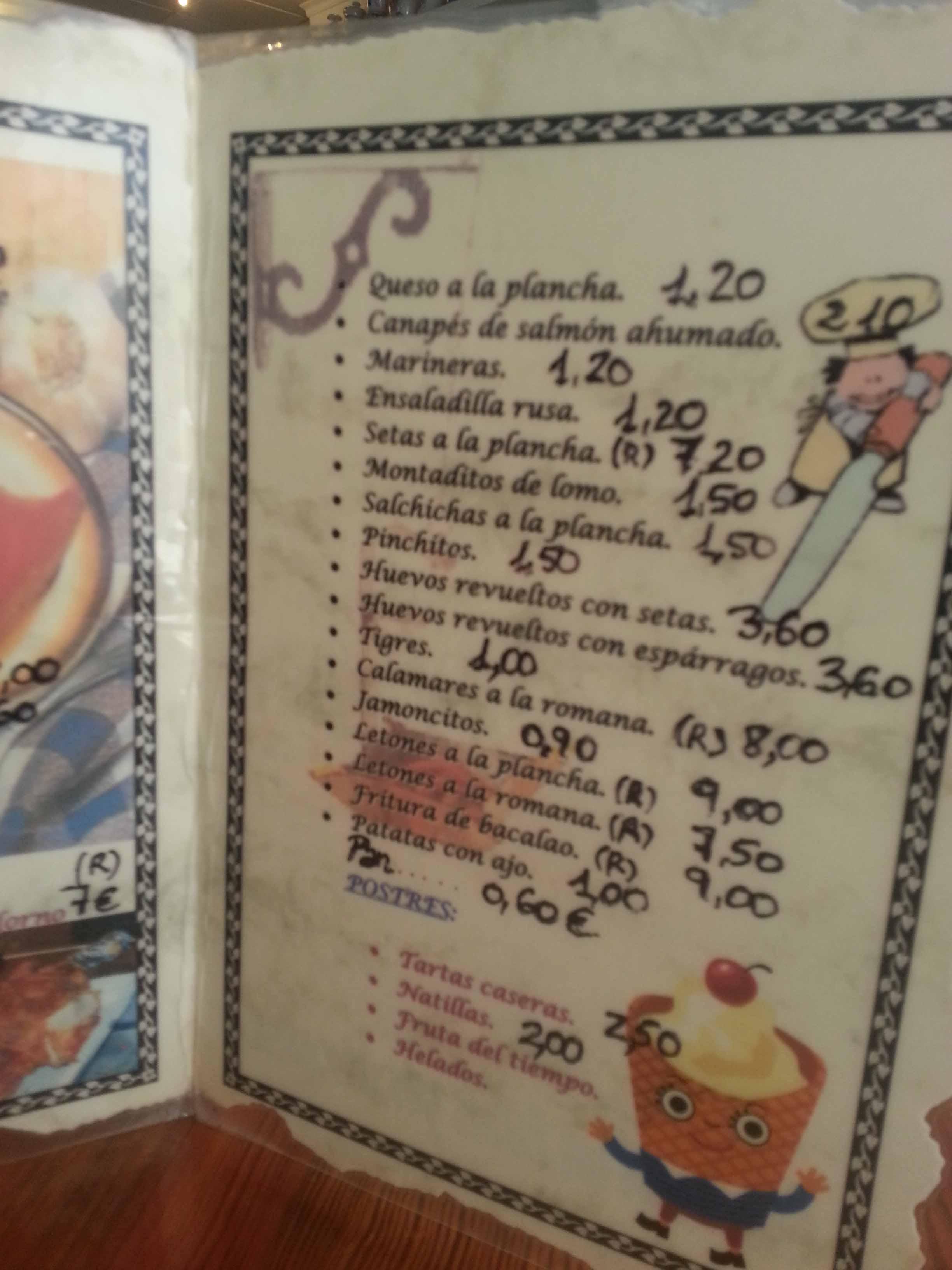 La carta de El Candil en Lorca